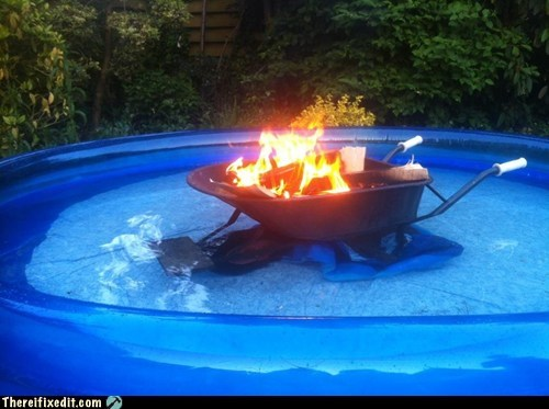 above ground pool fire g rated hot tub pool pool party redneck summer fails there I fixed it wheelbarrow