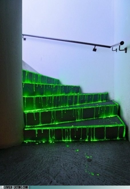 glow,glow sticks,paint,ravers,spill,stairs