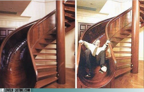 crazy man slide stairs
