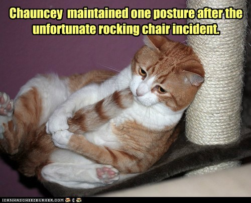 chair,fetal position,hurt,incident,ow,pain,rocking chair,tail