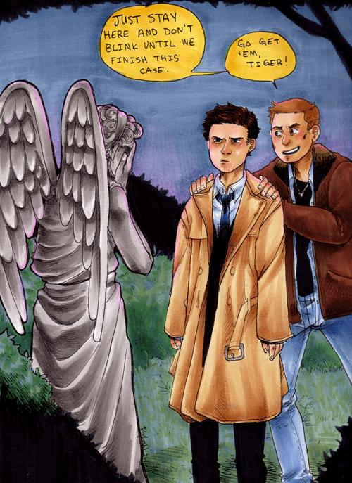 bbc,castiel,crossover,dean winchester,doctor who,Fan Art,scifi,Supernatural,weeping angel