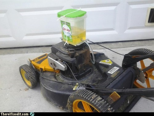 Mows and cleans your lawn