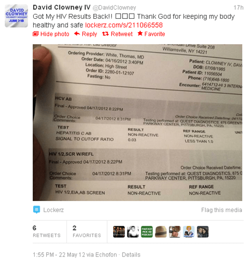 david clowney,HIV results,tweet