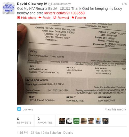 david clowney HIV results tweet - 6256520704