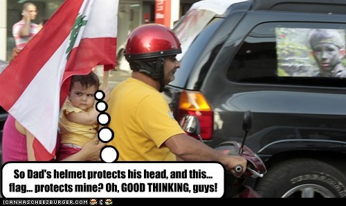 So Dad's helmet protects his head, and this... flag... protects mine? Oh, GOOD THINKING, guys!