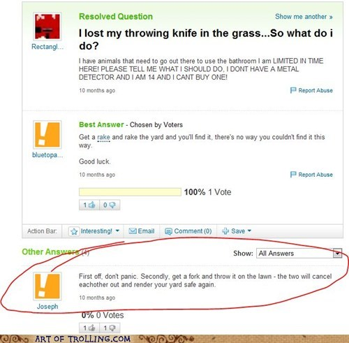 fork knife lost Yahoo Answer Fai Yahoo Answer Fails - 6256800512