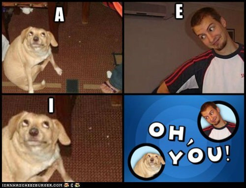 bad jokes,dogs,jokes,letters,multipanel,oh you,vowels