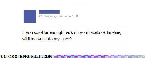 facebook myspace status update timeline weird kid