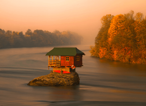 Forest,island house,river,serbia