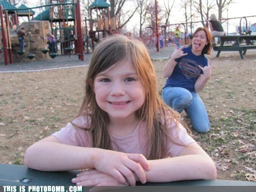 Supergirl Photobombing at the Park
