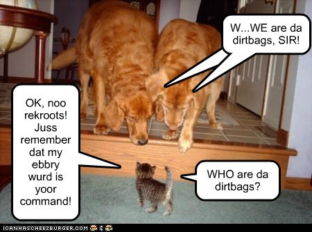 OK, noo rekroots! Juss remember dat my ebbry wurd is yoor command! WHO are da dirtbags? Cleverness Here W...WE are da dirtbags, SIR!