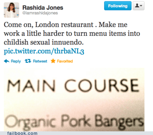 bangers,britain,england,innuendo,London,pork,rashida,tweet,twitter