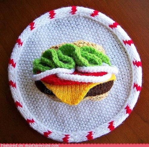 3d,art,burger,hanging,Knitted,wall