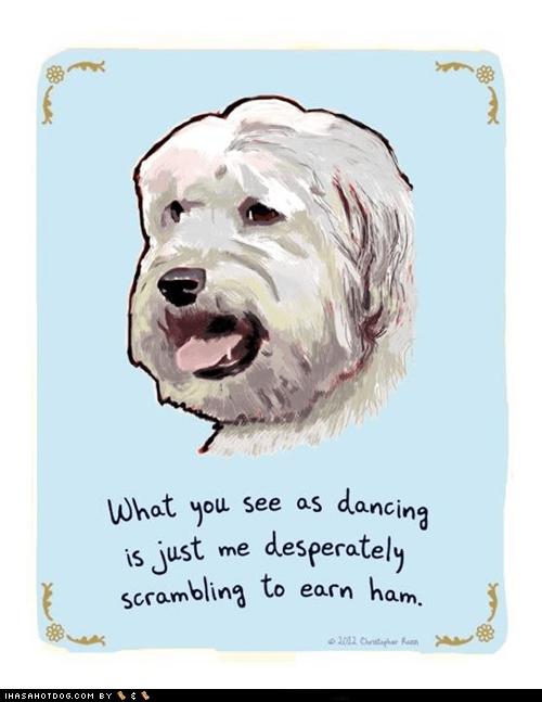comic dance ham white terrier - 6257819648
