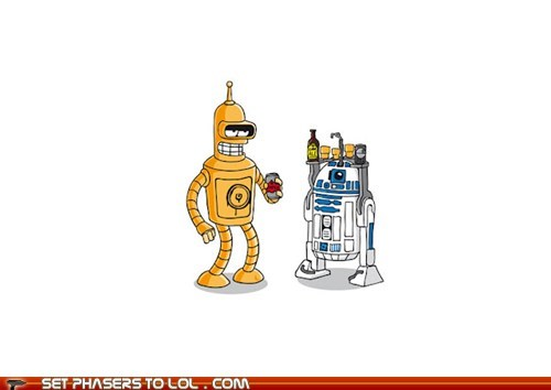 bartending,bender,c3p0,drinks,Fan Art,futurama,mashup,r2d2,Star Trek
