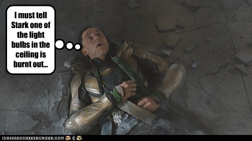 avengers,burned out,helpful,light bulb,loki,note to self,stark,tom hiddleston
