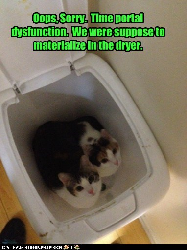 Oops, Sorry. Time portal dysfunction. We were suppose to materialize in the dryer.
