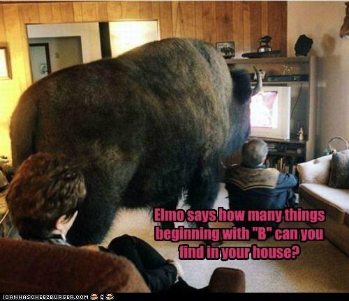 big buffalo elmo Sesame Street watching TV - 6259794944