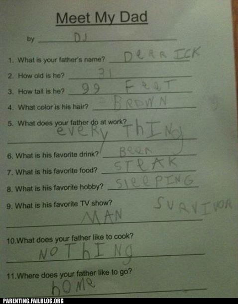 childrens-writing funny answers meet my dad