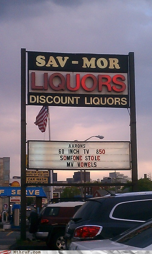 sav-mor store signs vowels liquor