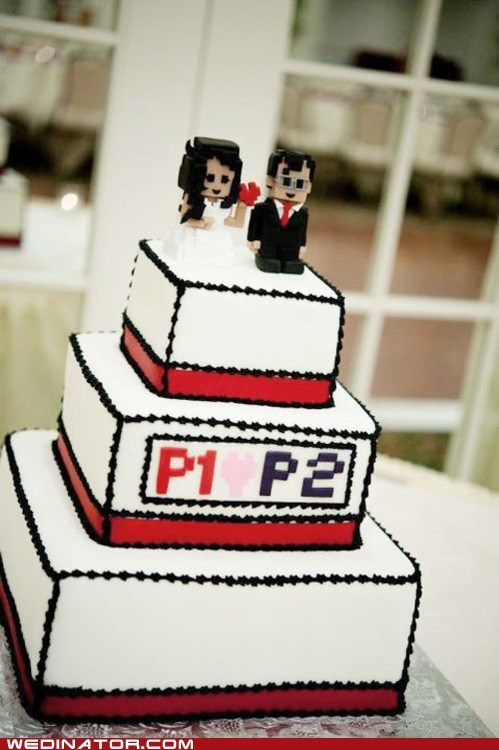 funny wedding photos,geeks,video games,wedding cakes
