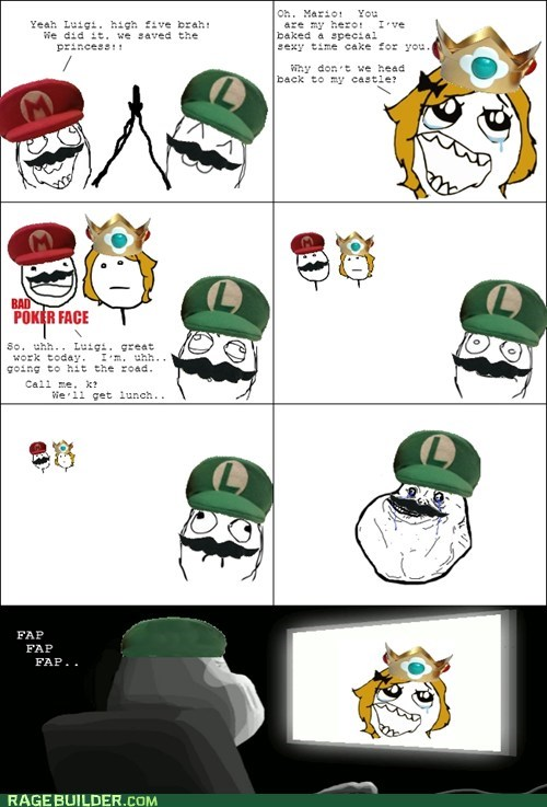 forever alone,luigi,Rage Comics,video games