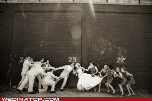 bride,bridesmaids,funny wedding photos,groom,groomsmens