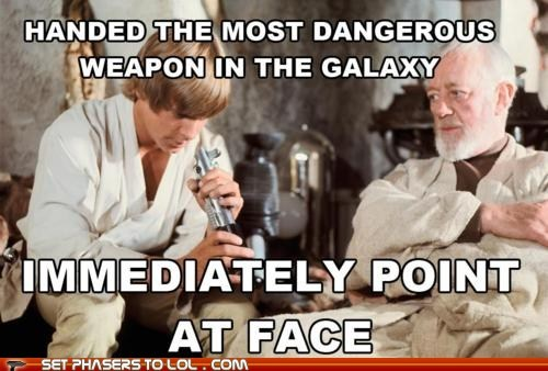 Alec Guinness best of the week dangerous face lightsaber luke skywalker Mark Hamill obi-wan kenobi star wars stupid weapon
