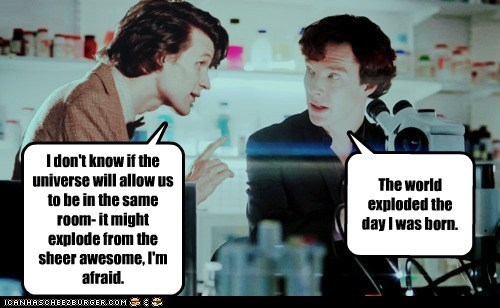 afraid awesome bennedict cumberbatch explode Matt Smith Sherlock sherlock bbc the doctor universe - 6261424384