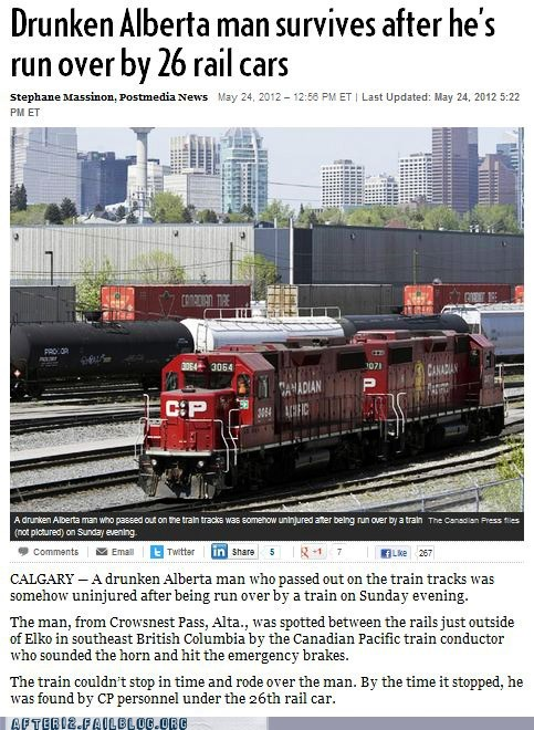 26 train cars,alberta,booze news,calgary,Canada,drunken man,miracles,run over,run over by a train,train,train cars,train tracks