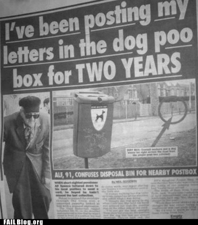 dog poo letters mailbox newspaper - 6261641216