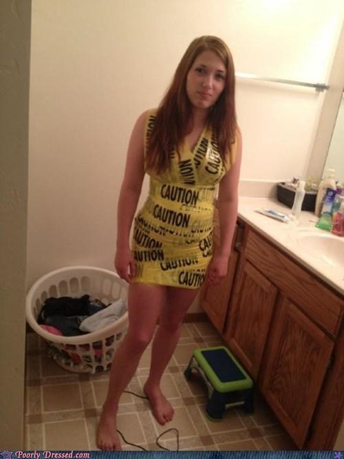 caution caution tape clever crime scene dress - 6261839360