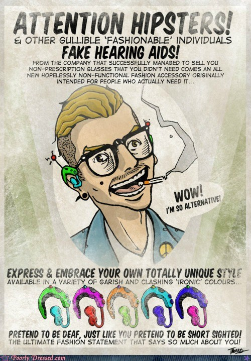 clever comic hearing aid hipsters parody poster - 6261915648