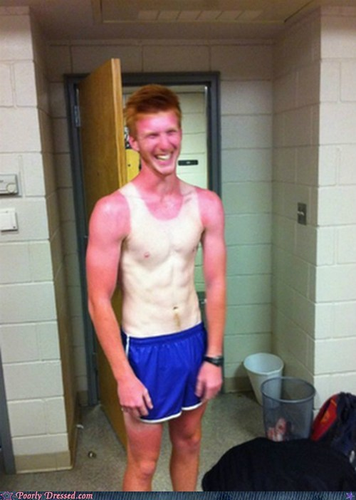 farmers tan,ginger,sports,sunburn,tan,tank top