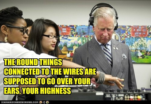 THE ROUND THINGS CONNECTED TO THE WIRES ARE SUPPOSED TO GO OVER YOUR EARS, YOUR HIGHNESS