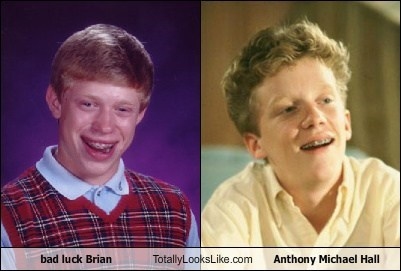 actor anthony michael hall bad luck brian celeb funny Hall of Fame meme TLL