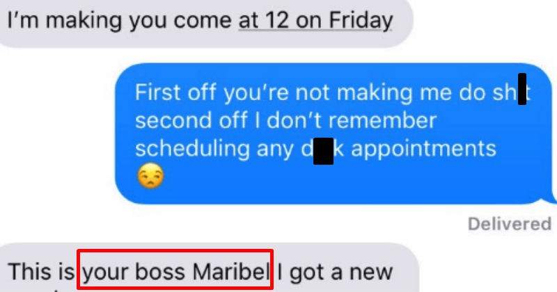 texting an inappropriate response to the boss