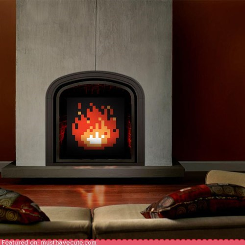 art fake fire fireplace light pixelated - 6262616832