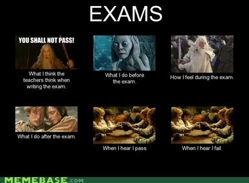 exams,Lord of the Rings,school