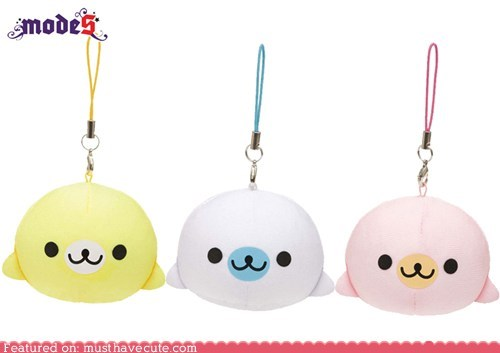 mamegoma,phone charm,rubber,seal,squeezy