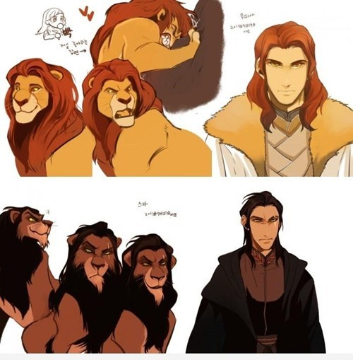 fan art anime style redraw simba and scar from the lion king as human japanese animation characters