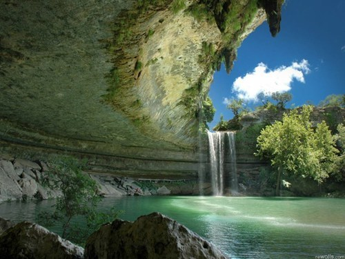 cave,Hall of Fame,lake,rocks,texas,waterfall