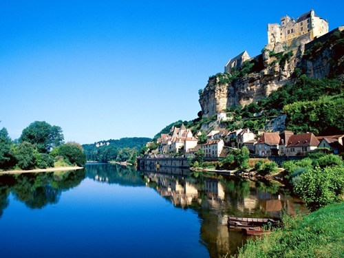 architecture,cliff,france,hillside,river