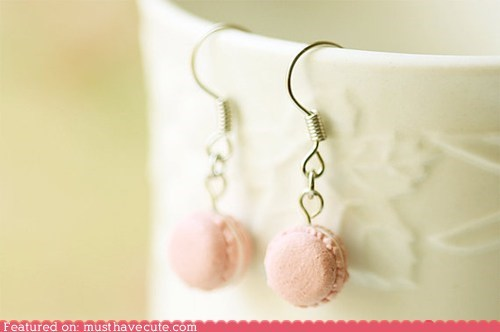 accessories cookies earrings Jewelry macarons miniature pink - 6264171008