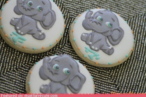 art baby cookies elephant epicute icing shower - 6264199936