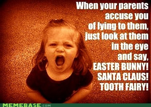 Easter Bunny kids lies Memes santa