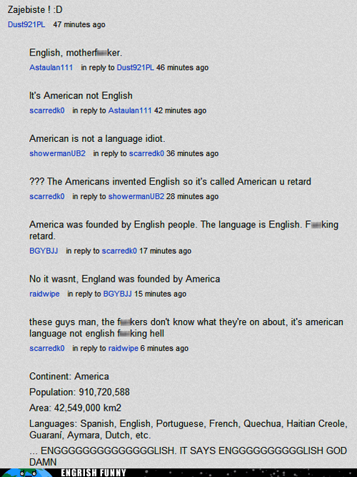 america american english youtube youtube comments