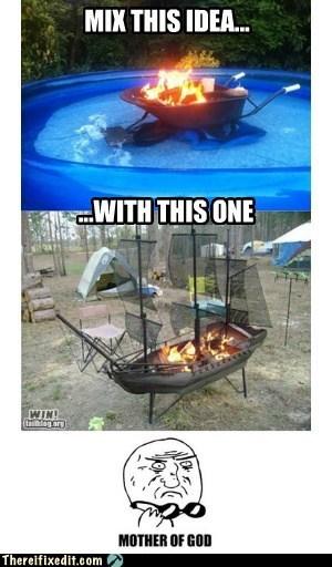 barbecue bbq grill hot tub ship wheelbarrow - 6264475904