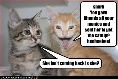 -snerk- You gave Rhonda all your monies and sent her to get the catnip? heeheehee! She isn't coming back is she?