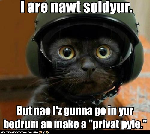 "I are nawt soldyur. But nao I'z gunna go in yur bedrum an make a ""privat pyle."""